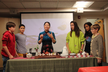 Chinese tea tasting in Foote School's seventh grade