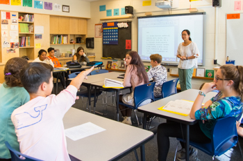 A Chinese language class in session at Foote School